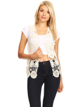 Load image into Gallery viewer, Floral Crochet Open Front Vest