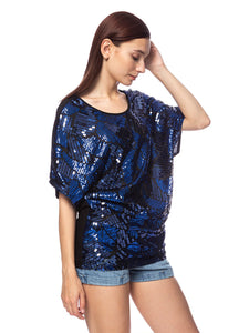 Anna-Kaci Womens Loose Fit Sequin Dolman Sleeve Evening Blouse Top