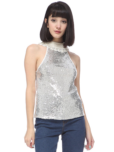Anna-Kaci Women's Dressy Party Sequin Embellished Faux White Pearl Lace Collar Halter Top