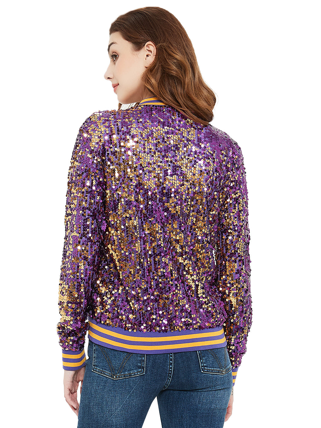 Sequin Bomber Zip-Up Jacket