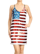 Load image into Gallery viewer, Anna-Kaci Spaghetti Strap Sleeveless USA American Flag Patriotic Sequin Dress, Multicolored, X-Small