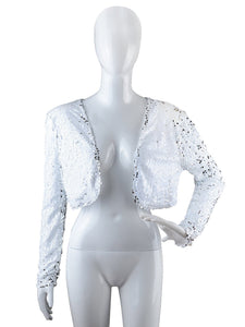 Anna-Kaci Womens Sequin Long Sleeve Front Zip Jacket with Ribbed Cuffs