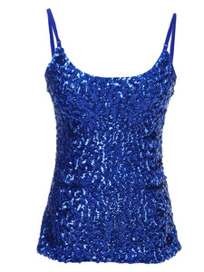 Anna-Kaci Womens Shimmer Sparkly Sequins Spaghetti Strap Camisole Vest Tank Tops
