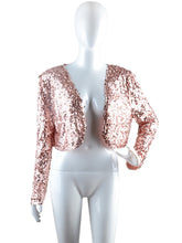 Load image into Gallery viewer, Anna-Kaci Womens Sequin Long Sleeve Front Zip Jacket with Ribbed Cuffs