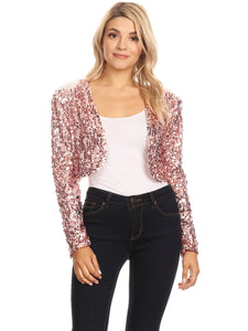 Bedazzled Open Front Sequin Bolero