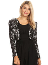 Load image into Gallery viewer, Bedazzled Open Front Sequin Bolero