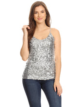 Load image into Gallery viewer, Anna-Kaci Womens Shimmer Sparkly Sequins Spaghetti Strap Camisole Vest Tank Tops