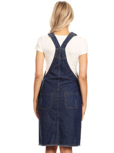 Load image into Gallery viewer, Distressed Denim Overall Midi Dress