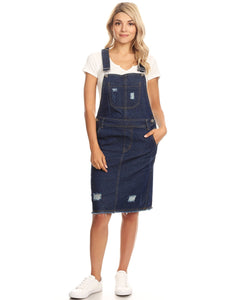 Distressed Denim Overall Midi Dress