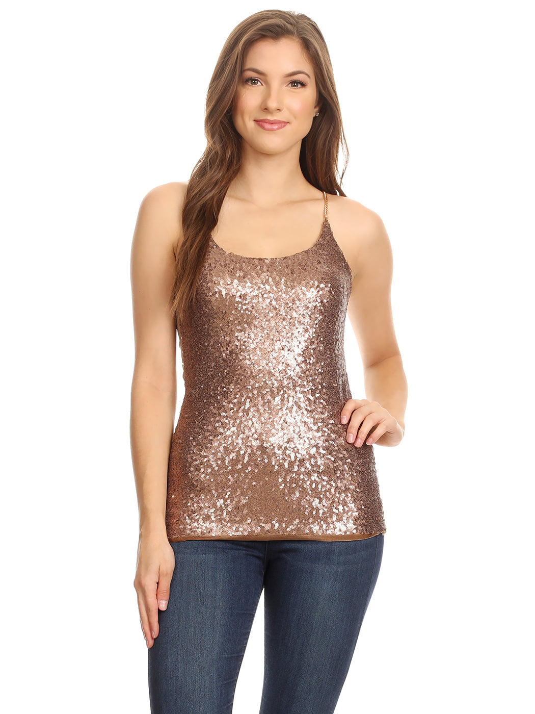 Anna-Kaci Womens Spaghetti Strap Sequin Metal Chain Shiny Party Club Camisole Tank Top