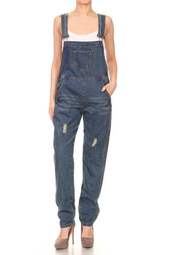 Anna-Kaci Womens Distressed Denim Overalls with Tapered Leg and Pockets, Blue, X-Large