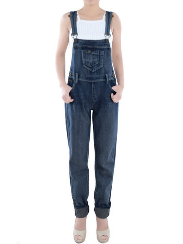 Anna-Kaci Womens Vintage Wash Straight Leg Denim Overalls with Pocket Bib, Blue, X-Large/XX-Large