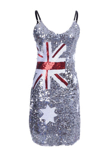 Australian Flag Sequin Slip Dress