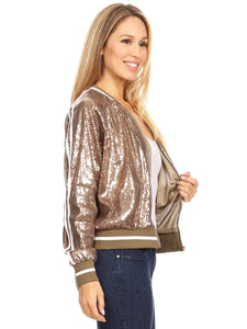 Striped Metallic Sequin Varsity Jacket