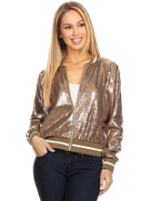 Load image into Gallery viewer, Striped Metallic Sequin Varsity Jacket
