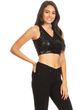 Load image into Gallery viewer, Sparkly Sequin Midriff Sleeveless Shirt