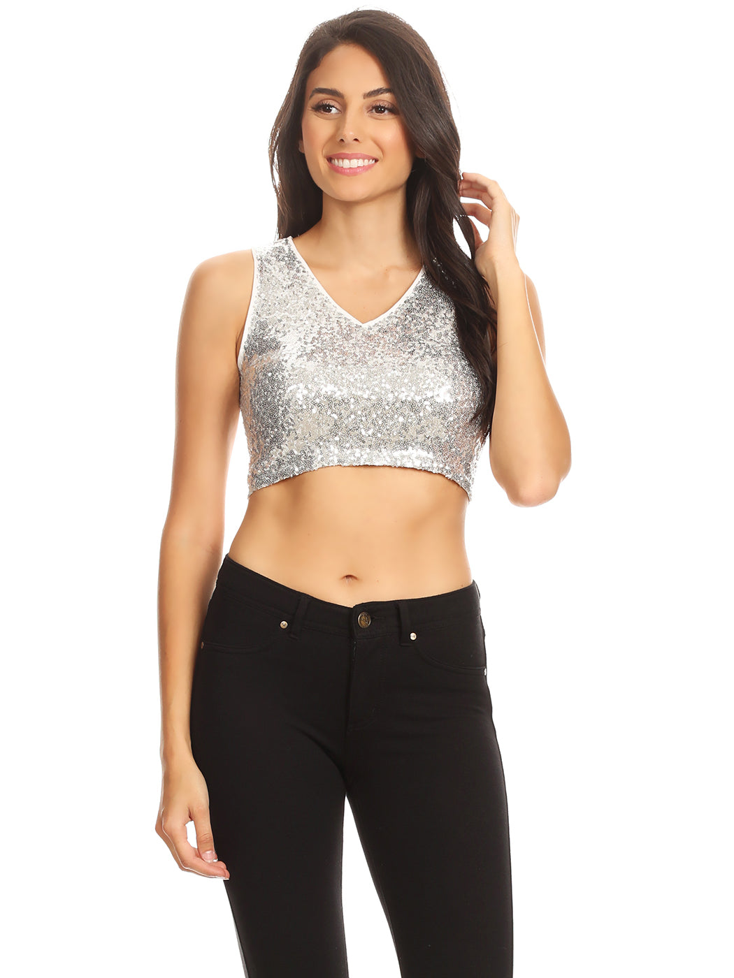 Sparkly Sequin Midriff Sleeveless Shirt