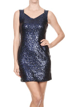 Load image into Gallery viewer, Cut Out Back Sleeveless Sequin Dress