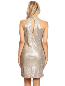 Sparkling Sequin Embellished Halter Dress