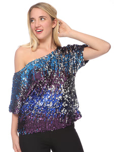 Sexy Slouch One Shoulder Sequin Blouse