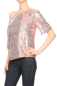 Easy Off-Shoulder Sequin Blouse