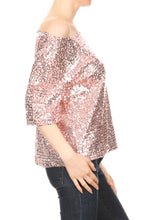 Load image into Gallery viewer, Sexy Slouch One Shoulder Sequin Blouse