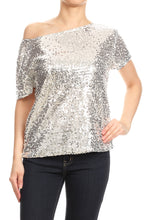 Load image into Gallery viewer, Easy Off-Shoulder Sequin Blouse