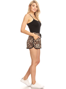 Anna-Kaci High Waist Cheetah Leopard Casual Lounge Shorts, Brown, X-Large
