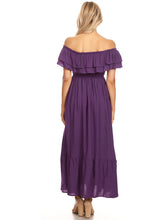 Load image into Gallery viewer, Grecian Ruffle Stretch Maxi Long Dress