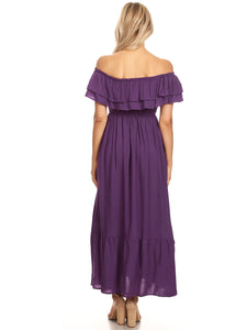 Grecian Ruffle Stretch Maxi Long Dress