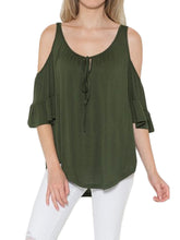 Load image into Gallery viewer, Cold Shoulder Tie Up Flowy Blouse