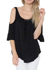 Cold Shoulder Tie Up Flowy Blouse