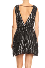 Load image into Gallery viewer, Boatneck Sequin Open Back A-line Dress