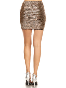 Anna-Kaci Womens Vegas Night Out Sleek Stretch Shiny Sequin Mini Pencil Skirt