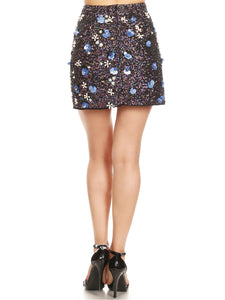 Anna-Kaci Womens Short Sequin Mini Skirt with Handed Beaded Flowers
