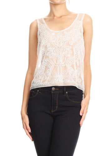 Anna-Kaci Womens Sleeveless Sheer White Embroidered Lace Gold Sequin Top