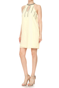 Anna-Kaci Womens Juniors Chiffon Halter Cocktail Party Clubbing Shift Dress, Beige, Small