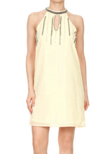 Load image into Gallery viewer, Anna-Kaci Womens Juniors Chiffon Halter Cocktail Party Clubbing Shift Dress, Beige, Small