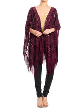 Load image into Gallery viewer, Anna-Kaci Womens Oversize Hand Beaded Fringed Sequin Evening Shawl Wrap, Gold, Onesize