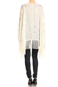 Anna-Kaci Womens Oversize Hand Beaded Fringed Sequin Evening Shawl Wrap, Gold, Onesize