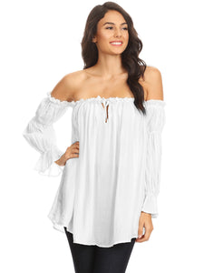 Anna-Kaci Womens Semi Sheer Boho Peasant Long Sleeve Off the Shoulder Top, White, XX-Large