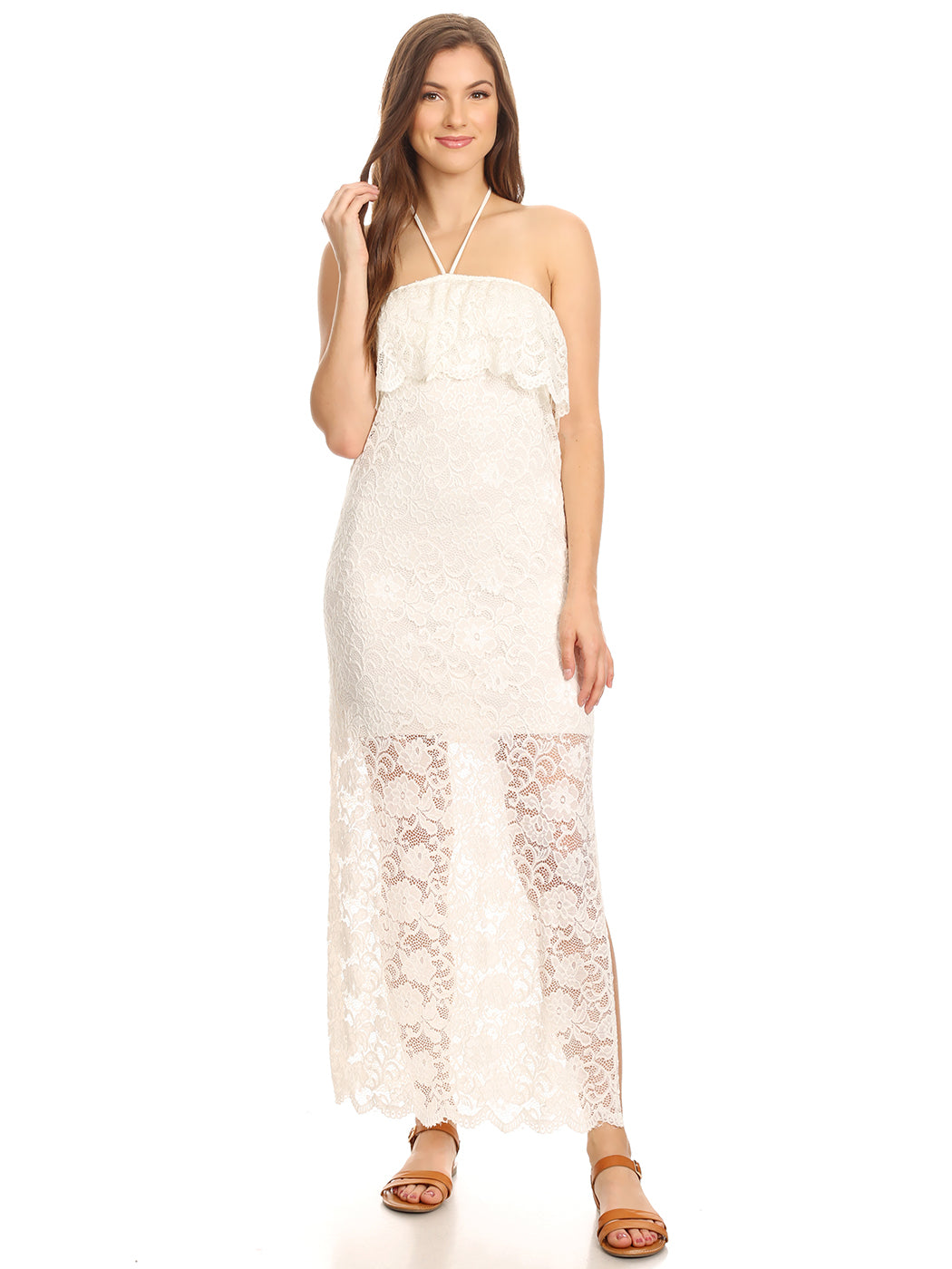 Anna-Kaci Womens White Lace Convertible Halter Strapless Maxi Dress Cover Up, White, Small