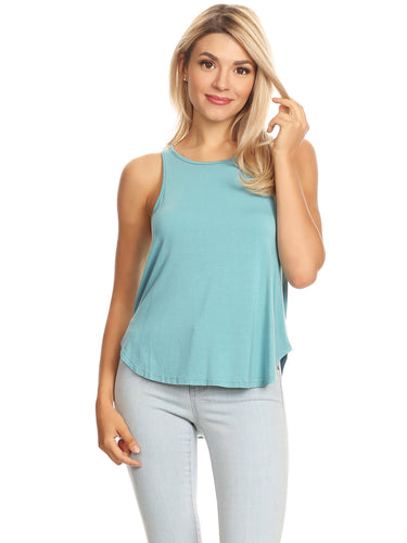 Anna-Kaci Soft & Comfy High Crewneck Casual Racerback Sleeveless Tank Top