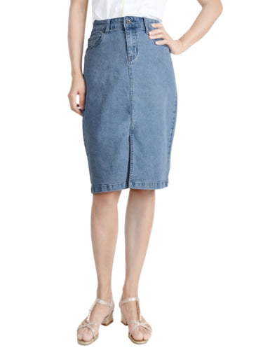 Anna-Kaci Women Comfy Soft Stretch Bodycon Blue Jean Pencil Midi Denim Skirt