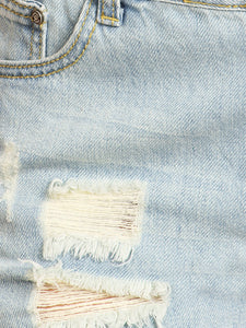 Anna-Kaci Juniors Laid-Back Chic Distressed Shortall Denim Overall Jean Shorts, Blue, X-Small