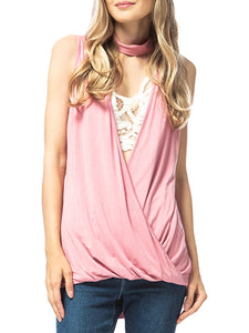 Choker V Neck Cut Loose Shirt