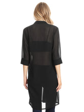 Load image into Gallery viewer, Anna-Kaci Junior Womens Black Sheer Chiffon Long Tunic Blouse Dress Shirt