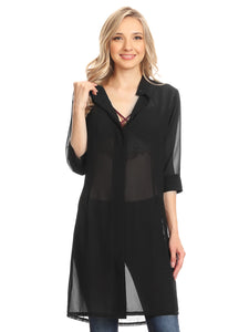 Anna-Kaci Junior Womens Black Sheer Chiffon Long Tunic Blouse Dress Shirt