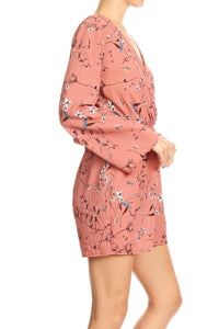 Anna-Kaci Womens Backless V-Neck Floral Print Long Sleeve ShortsJumpsuit Romper,Pink,X-Large