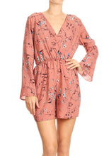 Load image into Gallery viewer, Anna-Kaci Womens Backless V-Neck Floral Print Long Sleeve ShortsJumpsuit Romper,Pink,X-Large